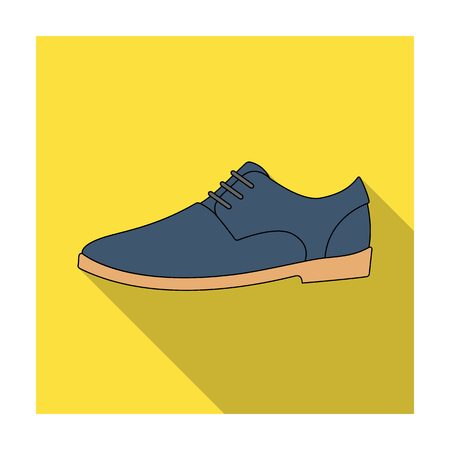 perforation: Mens leather shiny shoes with laces. Shoes to wear with a suit.Different shoes single icon in flat style vector symbol stock illustration.