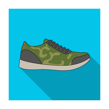 Rag camouflage sneakers for everyday wear.Different shoes single icon in flat style vector symbol stock illustration.