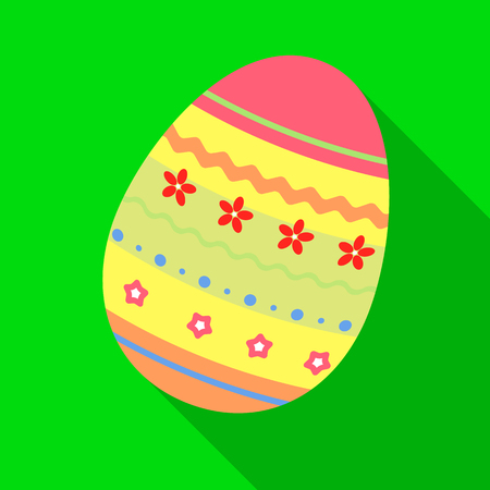 Dyed patterns egg for Easter. Easter single icon in flat style vector symbol stock illustration.