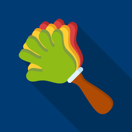 Attribute of the fan in the form of a hand.Fans single icon in flat style vector symbol stock illustration.
