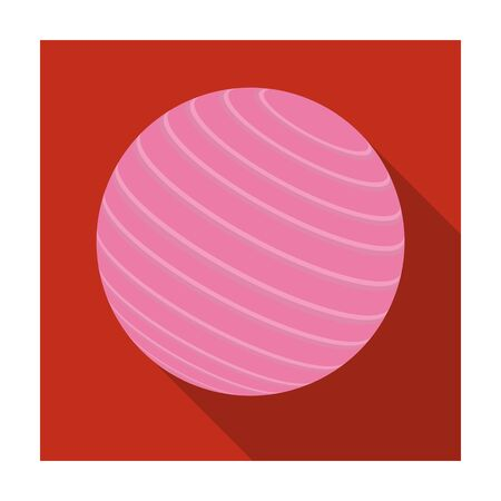 Pink rubber bouncy ball for exercises . Fitball for fitness.Gym And Workout single icon in flat style vector symbol stock illustration. Illustration