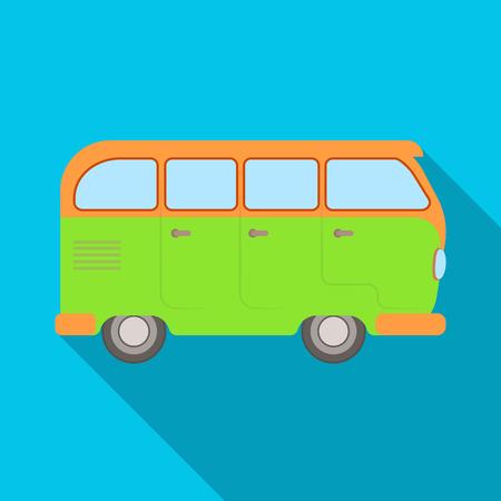schoolbus: Green bus. Hippy single icon in flat style vector symbol stock illustration web.