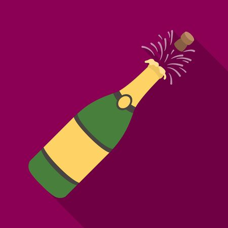 popping cork: A bottle of champagne with a cork.Party and parties single icon in flat style vector symbol stock illustration.
