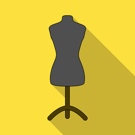 Plastic dummy on the stand.Sewing or tailoring tools kit single icon in flat style vector symbol stock illustration.