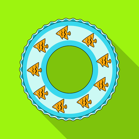 Rescue swimming circle.Summer rest single icon in flat style vector symbol stock illustration.