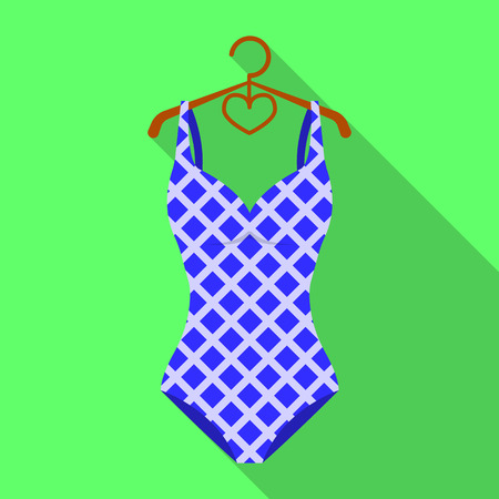 Blue and white swimsuit for competitive swimming. Swimsuit with checkered pattern.Swimcuits single icon in flat style vector symbol stock illustration. Illustration