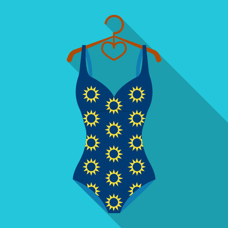 Blue swimsuit with sunflowers. Swimsuit for swimming in the pool.Swimcuits single icon in flat style vector symbol stock illustration.