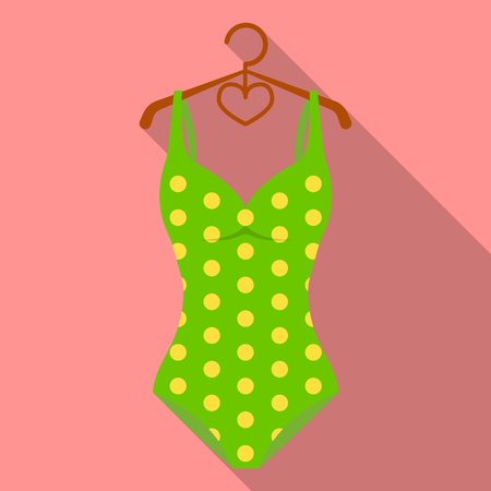 Bright green swimsuit with yellow flowers. Clothes for girls on the beach.Swimcuits single icon in flat style vector symbol stock illustration. Illustration