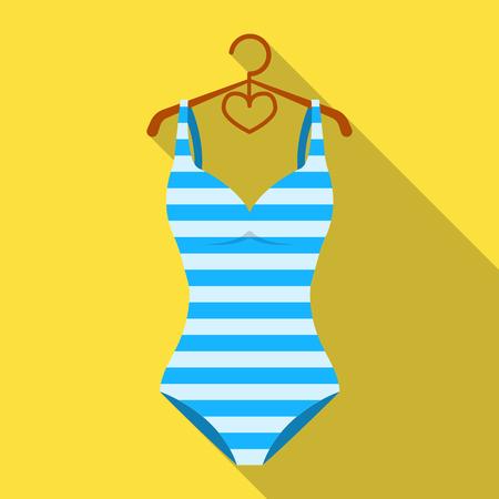 Helder gestreept zwempak in de kleuren van de regenboog. Strand vrouwelijke vorm. Swimcuits enig pictogram in vlakke stijl vector symbool stock illustratie.