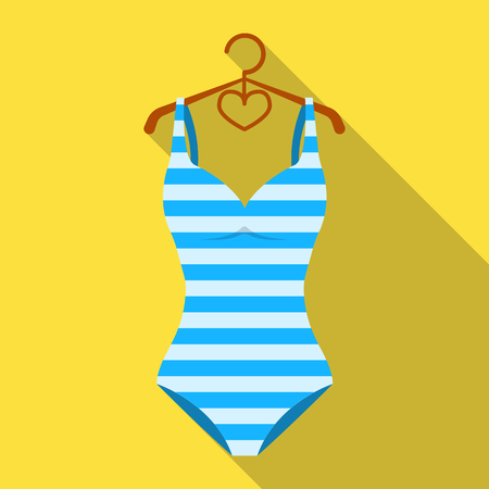 Bright striped swimsuit in the colors of the rainbow. Beach female form.Swimcuits single icon in flat style vector symbol stock illustration.