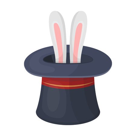 conjure: Ears of a hare in a hat. Foci.Party and parties single icon in cartoon style vector symbol stock illustration.