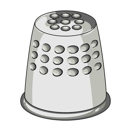 縫うときにあなたの指を保護するために指ぬき。縫製や仕立てツール キット、漫画スタイルのベクトル シンボル ストック イラストで 1 つのアイコンです。 写真素材 - 75969456