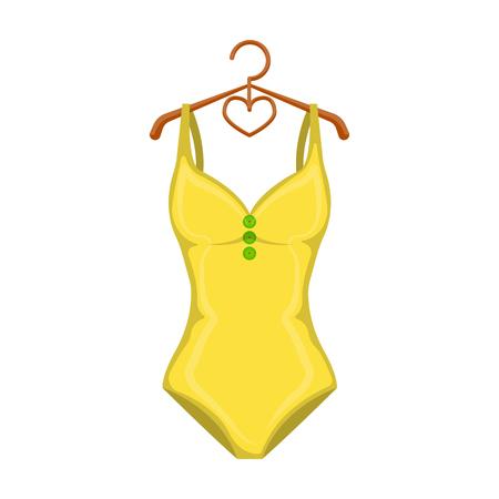 Bañador amarillo monótono para niñas. Baño de ropa en la piscina. Swimcuits solo icono en estilo de dibujos animados vector símbolo stock de ilustración. Foto de archivo - 75969507