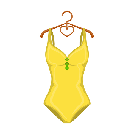 Monotone yellow swimsuit for girls. Bathing clothes in the pool.Swimcuits single icon in cartoon style vector symbol stock illustration.