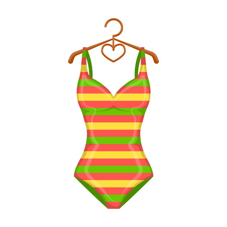 Bright striped swimsuit in the colors of the rainbow. Beach female form.Swimcuits single icon in cartoon style vector symbol stock illustration.
