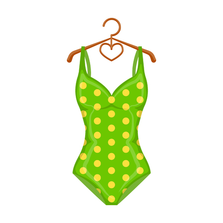 Bright green swimsuit with yellow flowers. Clothes for girls on the beach.Swimcuits single icon in cartoon style vector symbol stock illustration.