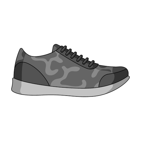 Rag camouflage sneakers for everyday wear.Different shoes single icon in monochrome style vector symbol stock illustration.