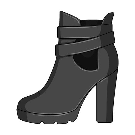 High women red shoes for everyday wear .Different shoes single icon in monochrome style vector symbol stock illustration.