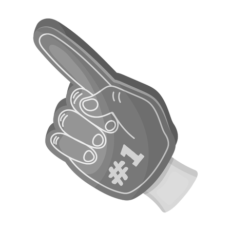 Number one is the fan s glove.Fans single icon in monochrome style vector symbol stock illustration.