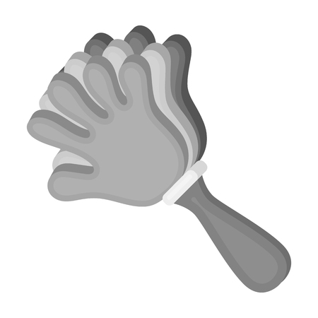 Attribute of the fan in the form of a hand.Fans single icon in monochrome style vector symbol stock illustration.