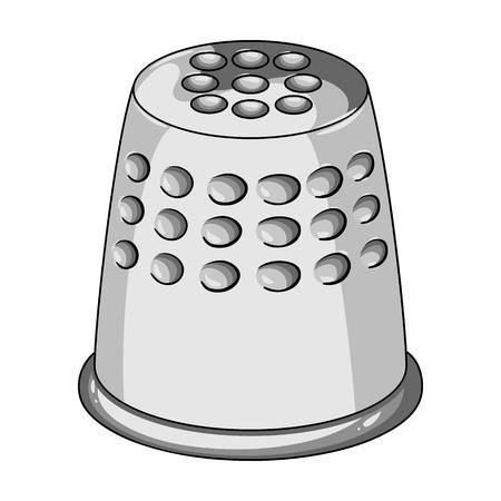 Een vingerhoed om uw vingers te beschermen wanneer het naaien. Het naaien of het maken van het enige pictogram van de hulpmiddelenuitrusting in de zwart-wit illustratie van de symbool van het stijl vectorsymbool. Stock Illustratie