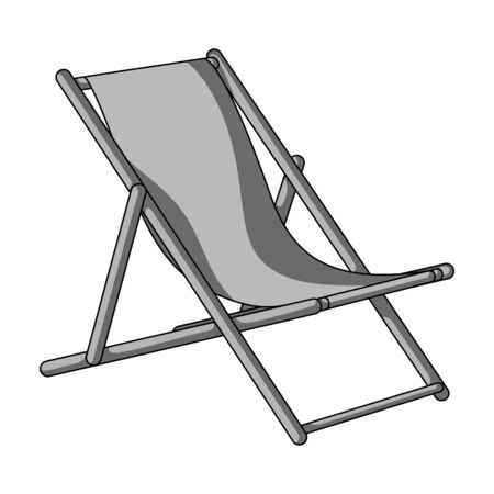 lounge chair: The seat for sunbathing on the beach.Summer rest single icon in monochrome style vector symbol stock illustration. Illustration