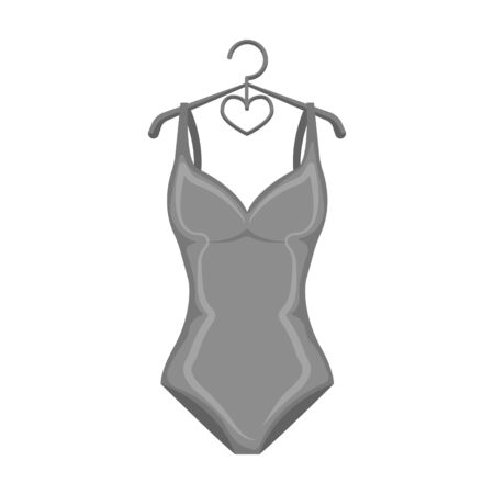 Monotone blue swimsuit for girls. Bathing clothes in the pool.Swimcuits single icon in monochrome style vector symbol stock illustration.