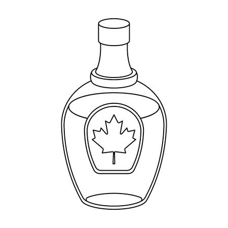 Jarabe de arce canadiense en una botella. Canadá único icono en el estilo de símbolo de vectores de ilustración stock photography web.
