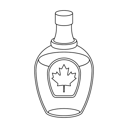 51540109273 Canadian maple syrup in a bottle. Canada single icon in outline style  vector symbol stock