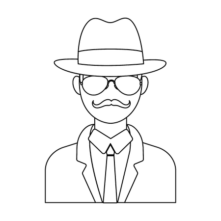 Man in hat suit raincoat and glasses. The detective undercover.Detective single icon in outline style vector symbol stock illustration. Illustration