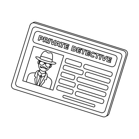 driver license: Documents of a private detective. Card that shows the personality of the detective.Detective single icon in outline style vector symbol stock illustration.