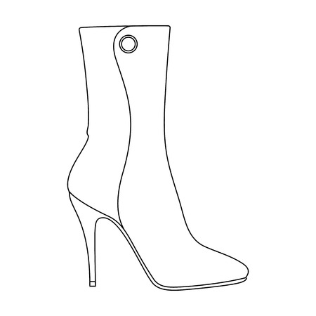 Demi tall womens boots high heel.Different shoes single icon in outline style vector symbol stock illustration. Ilustração