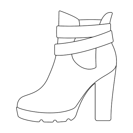 High women red shoes for everyday wear .Different shoes single icon in outline style vector symbol stock illustration.