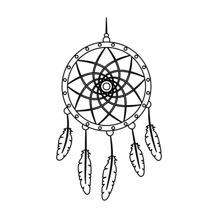 Dream catcher with feathers.Hippy single icon in outline style vector symbol stock illustration web.