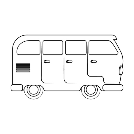 schoolbus: Green bus.Hippy single icon in outline style vector symbol stock illustration web.