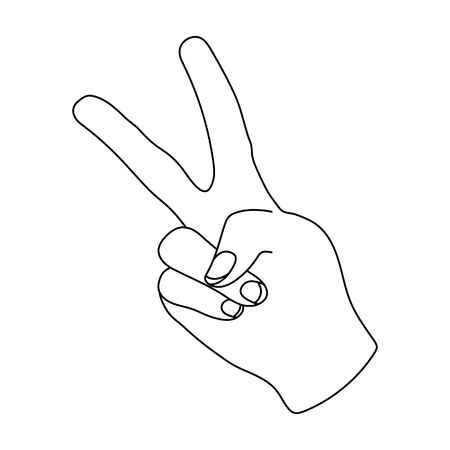 control of body movement: Peace symbol gesture.Hippy single icon in outline style vector symbol stock illustration web. Illustration
