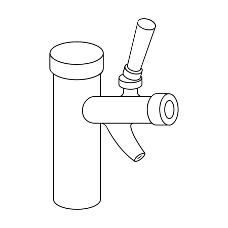 Metal faucet for dispensing cold kvass and beer in bars. Illustration