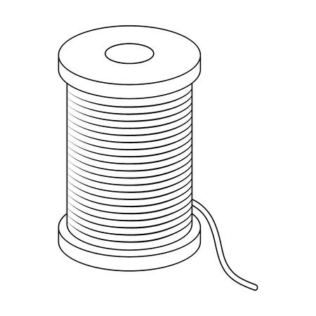 Una bobina del filo blu Cucendo o adattando la singola icona del corredo di strumenti nell'illustrazione delle azione di simbolo di vettore di stile del profilo.
