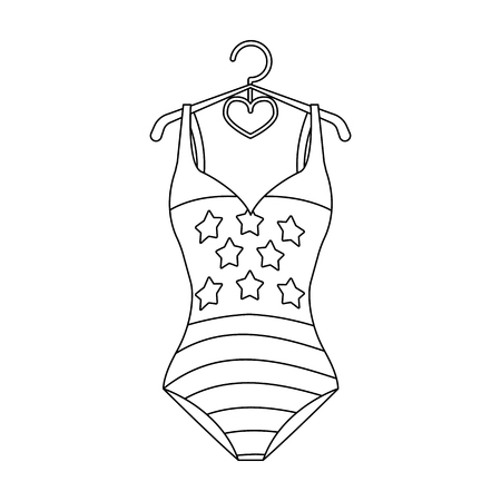 beach closed: Women swimsuit closed with the flag of America. Swimsuit for the patriots.Swimcuits single icon in black style vector symbol stock illustration. Illustration