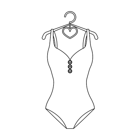 monotone: Monotone yellow swimsuit for girls. Bathing clothes in the pool.Swimcuits single icon in black style vector symbol stock illustration.