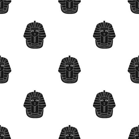tutankhamen: Pharaohs pattern in black style. Illustration