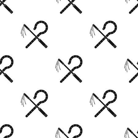 Crook and flail pattern in black style. Illustration