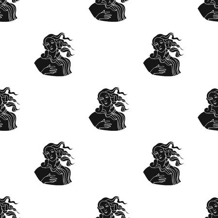 Italian Goddess Of Love Icon In Black Style Isolated On White Background Italy Country Pattern