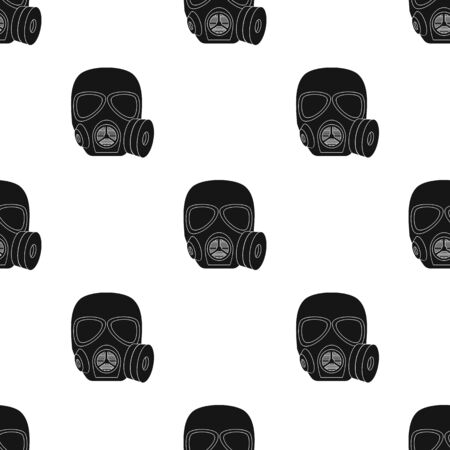 army gas mask: Army gas mask icon in black style isolated on white background. Military and army pattern stock vector illustration Illustration