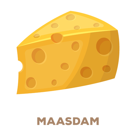 Maasdam - Different kinds of cheese single icon in cartoon style.