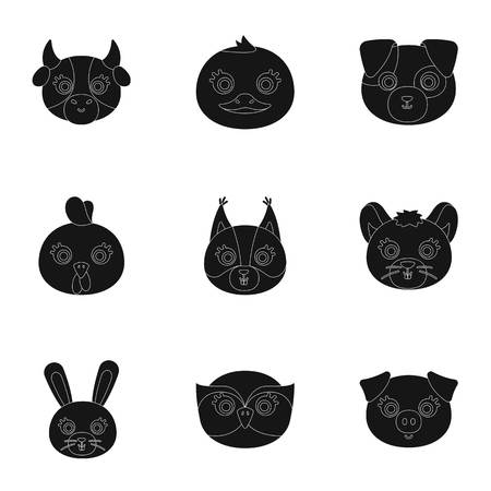 chub: Wild and domestic animals. A set of pictures about animals. Animal muzzle icon in set collection on black style vector symbol stock illustration.