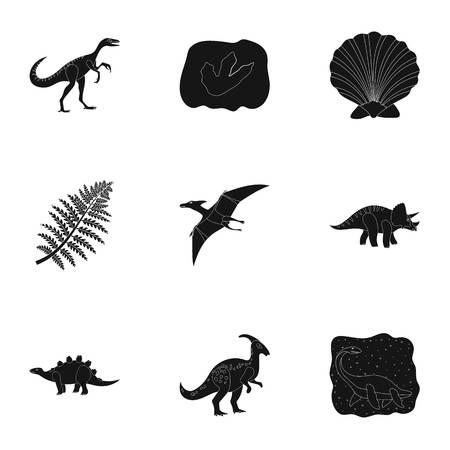 tyrannosaurs: Ancient extinct animals and their tracks and remains. Dinosaurs, tyrannosaurs, pnictosaurs.Dinisaurs and prehistorical icon in set collection on black style vector symbol stock illustration.