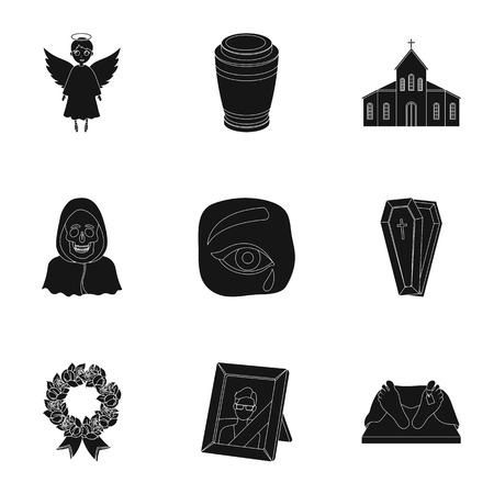 corpses: Funeral ceremony, cemetery, coffins, priest.Funeral ceremony icon in set collection on black style vector symbol stock illustration.