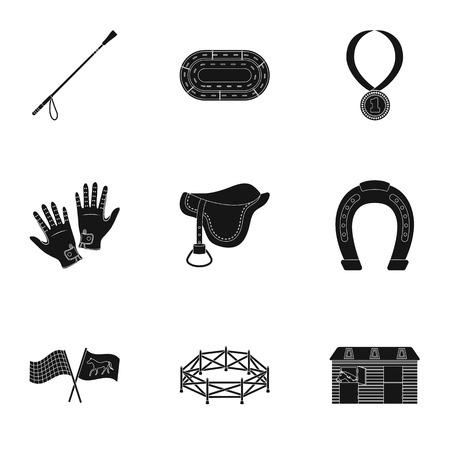 Races op horseback, hippodrome. Horse Racing en equipement riders.Hippodrome en paard icoon in set collectie op zwarte stijl vector symbool stock illustratie.