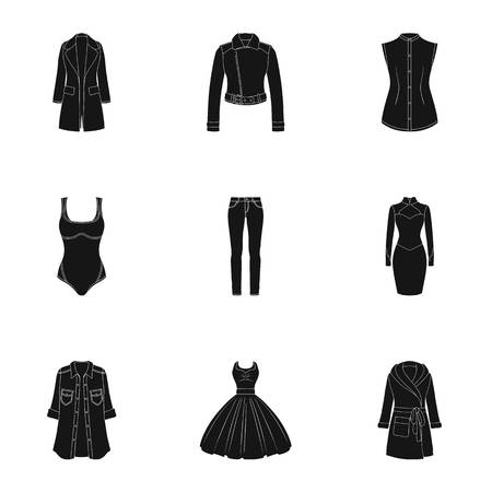 womens work: Collection of icons of womens clothing. Various womens clothes for work, walking, sports. Women clothing icon in set collection on black style vector symbol stock illustration. Illustration